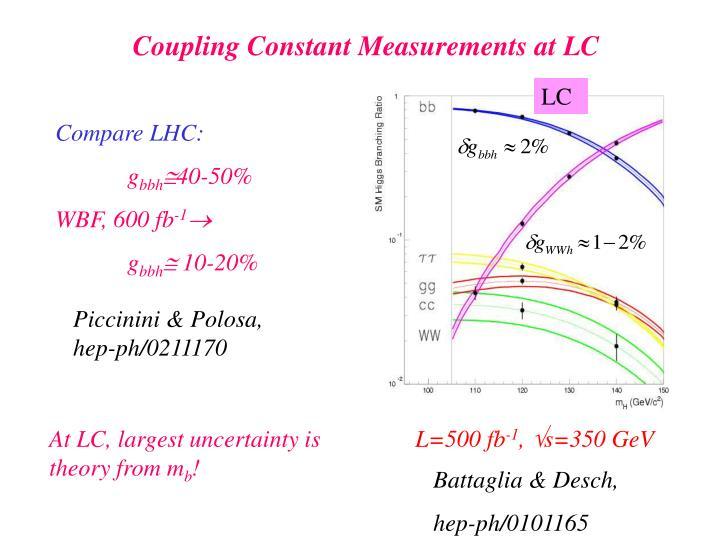 Coupling Constant Measurements at LC