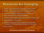resources are emerging