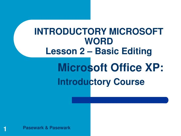 Introductory microsoft word lesson 2 basic editing