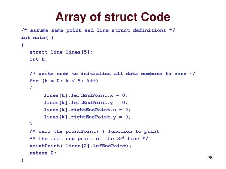 Array of struct Code