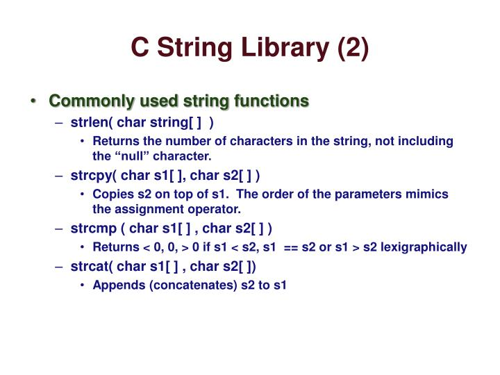 C String Library (2)