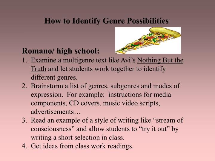 How to Identify Genre Possibilities