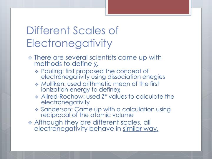 Different Scales of Electronegativity