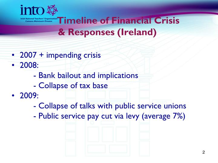 Timeline of financial crisis responses ireland