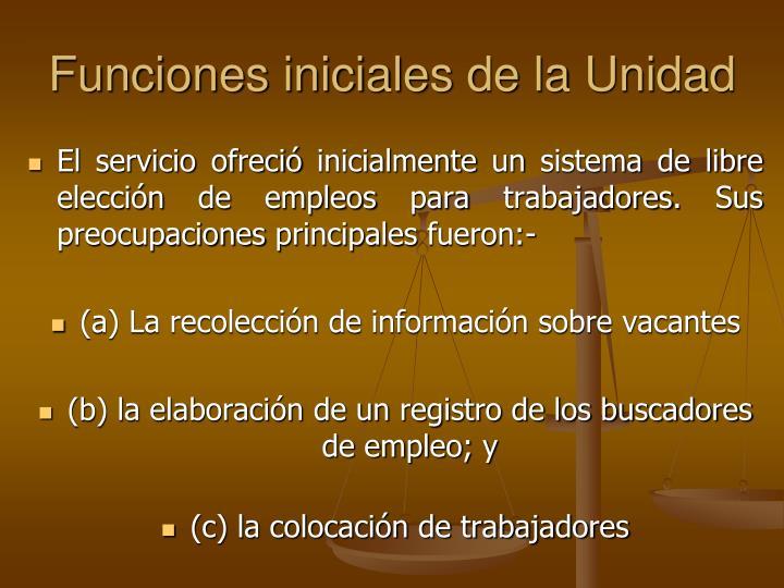 Funciones iniciales de la Unidad