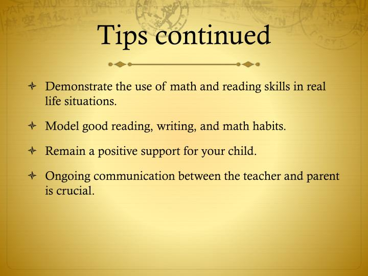Tips continued