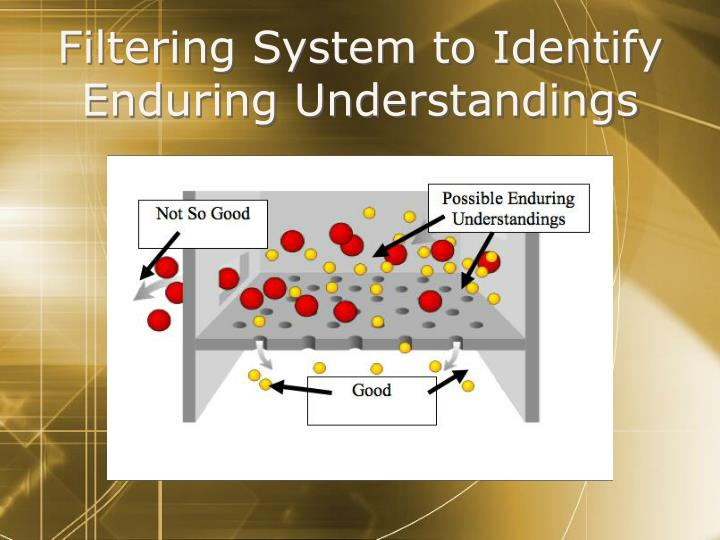 Filtering System to Identify Enduring Understandings