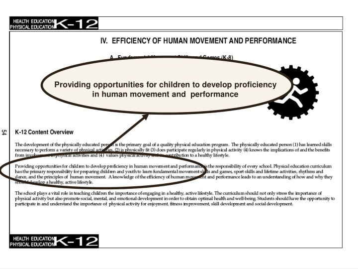 Providing opportunities for children to develop proficiency