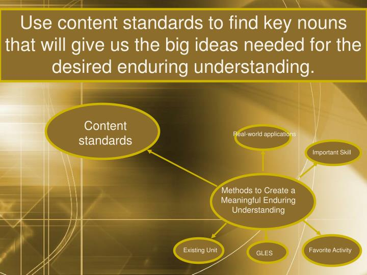 Use content standards to find key nouns that will give us the big ideas needed for the desired enduring understanding.