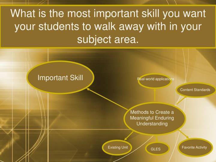 What is the most important skill you want your students to walk away with in your subject area.