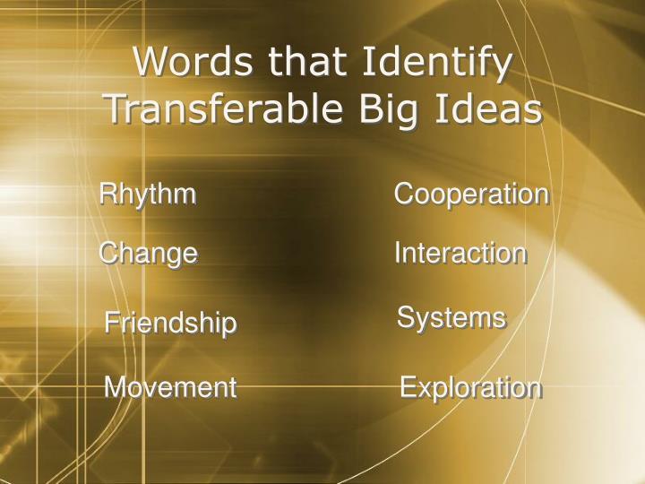 Words that Identify Transferable Big Ideas