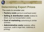 determining export prices