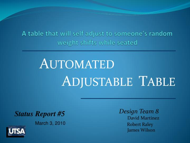a table that will self adjust to someone s random weight shifts while seated n.
