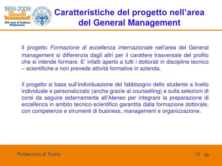 Caratteristiche del progetto nell'area del General Management