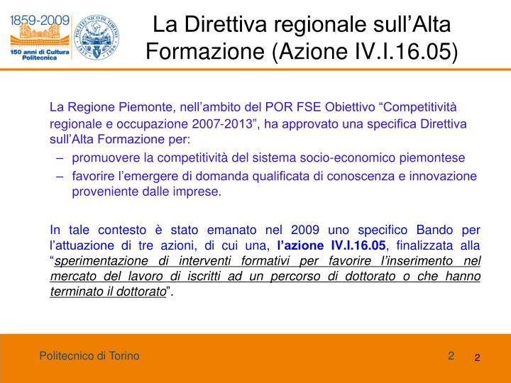 La direttiva regionale sull alta formazione azione iv i 16 05