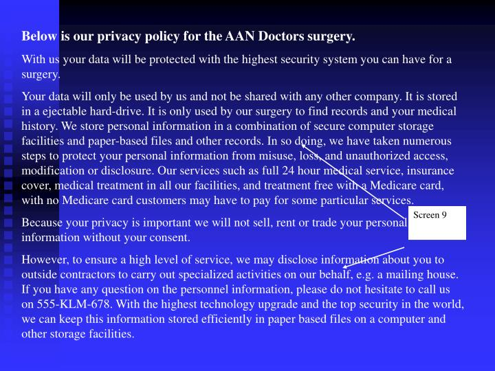 Below is our privacy policy for the AAN Doctors surgery.