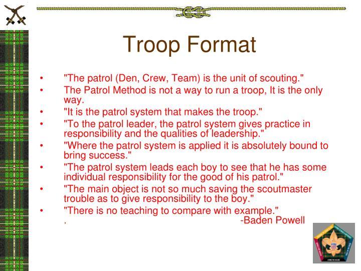 Troop Format