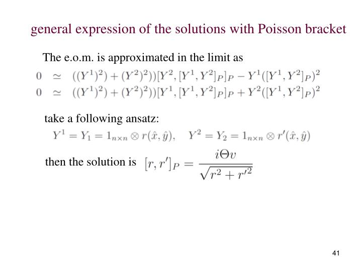 general expression of the solutions with Poisson bracket