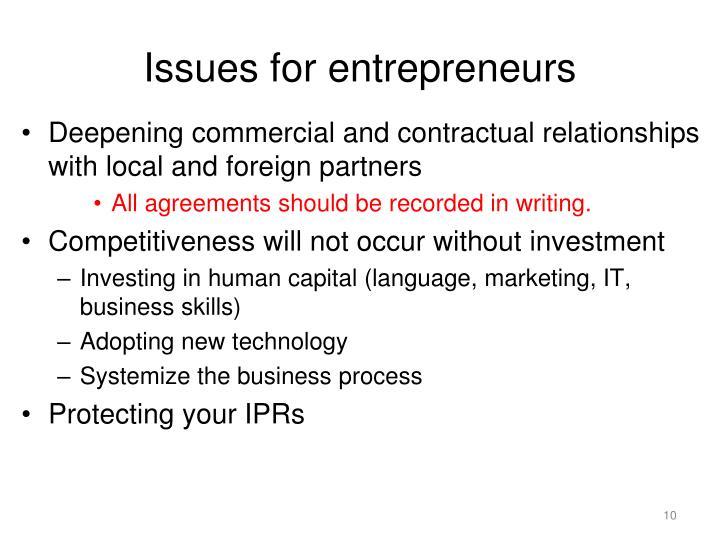 Issues for entrepreneurs