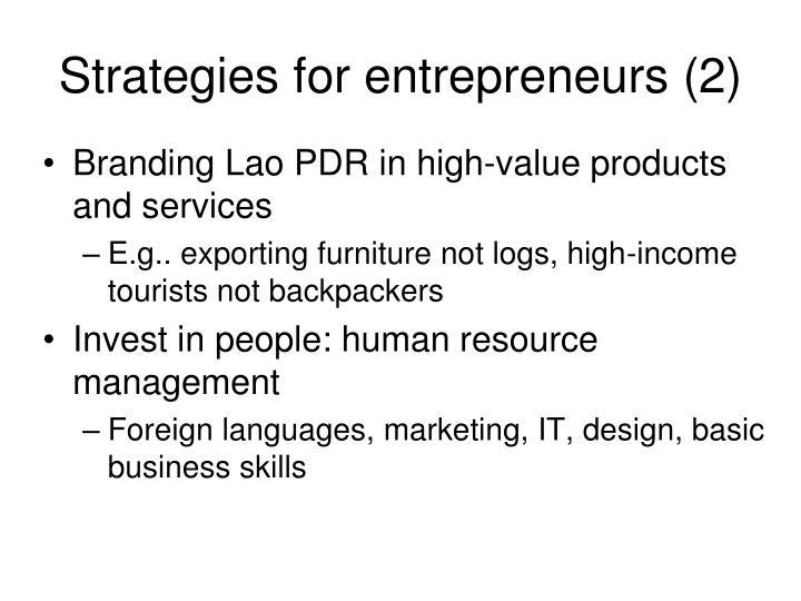 Strategies for entrepreneurs (2)