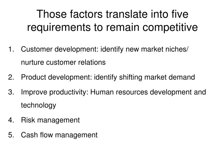 Those factors translate into five requirements to remain competitive