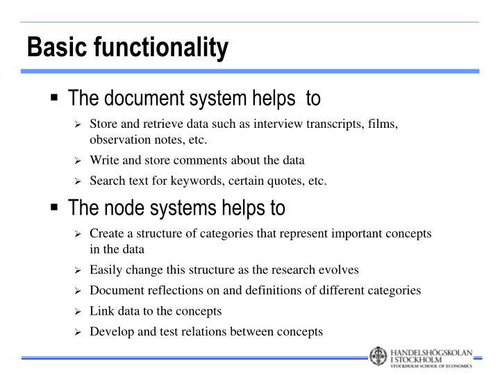 Basic functionality
