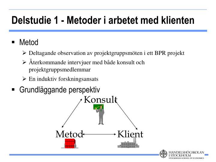 Delstudie 1 - Metoder i arbetet med klienten