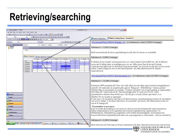 Retrieving/searching