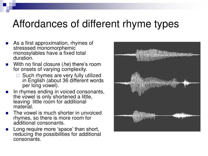 Affordances of different rhyme types