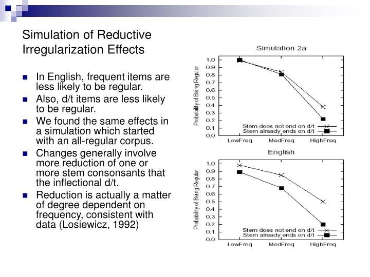 Simulation of Reductive Irregularization Effects