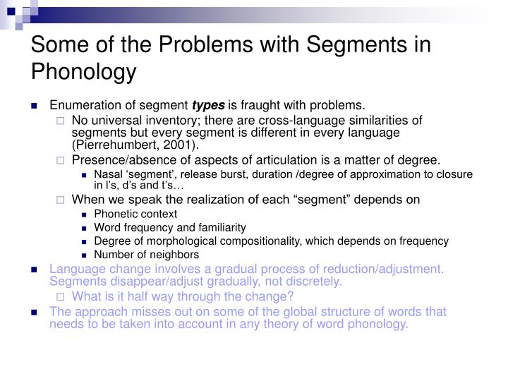 Some of the Problems with Segments in Phonology