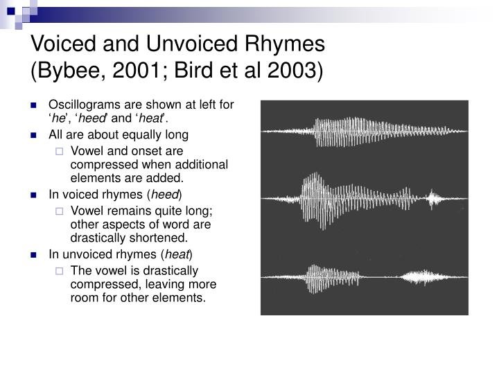 Voiced and Unvoiced Rhymes