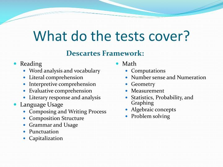 What do the tests cover?