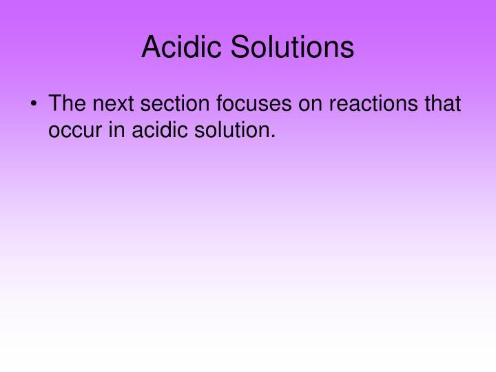 Acidic Solutions
