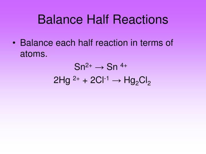 Balance Half Reactions