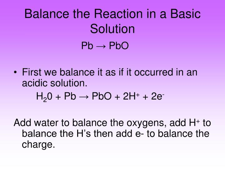 Balance the Reaction in a Basic Solution