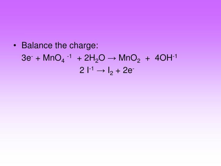 Balance the charge: