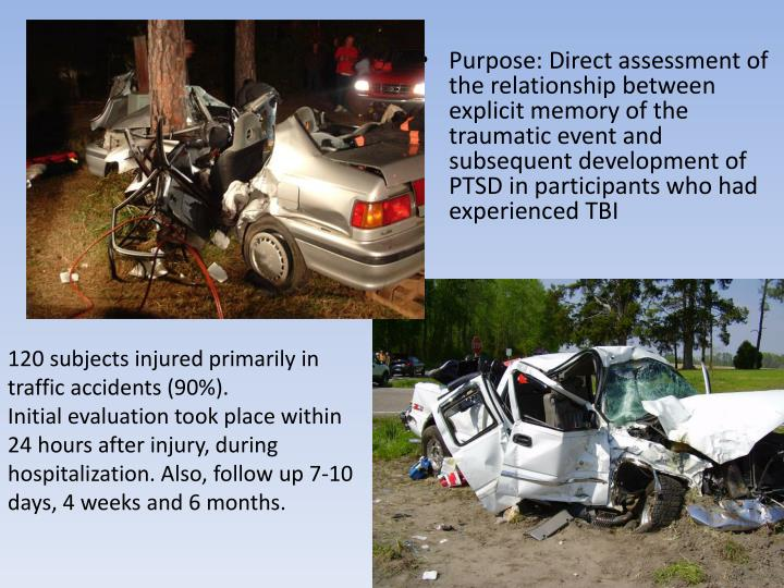 Purpose: Direct assessment of the relationship between explicit memory of the traumatic event and subsequent development of PTSD in participants who had experienced TBI