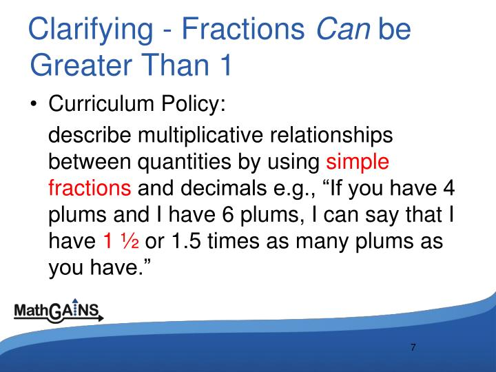 Clarifying - Fractions