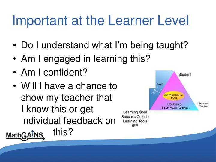 Important at the Learner Level