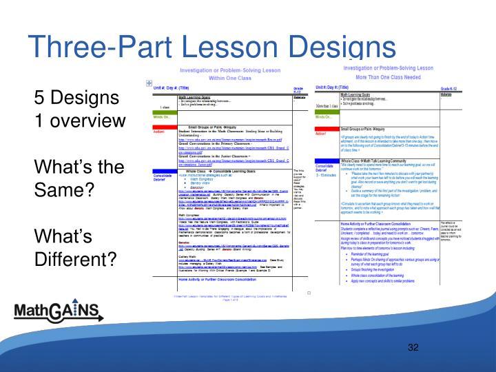 Three-Part Lesson Designs