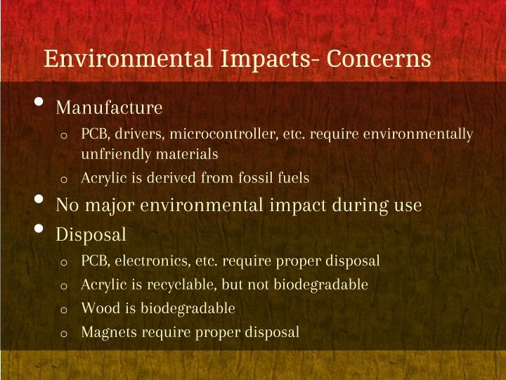 Environmental impacts concerns