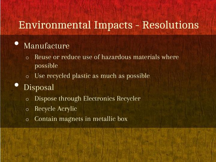 Environmental impacts resolutions
