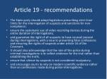 article 19 recommendations