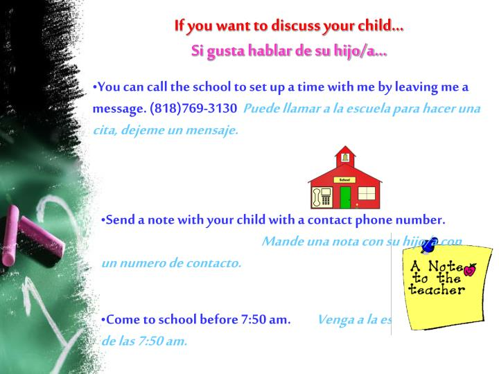 If you want to discuss your child…