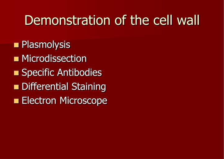 Demonstration of the cell wall