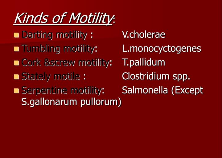 Kinds of Motility