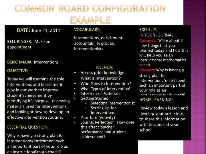 Common Board Configuration Example