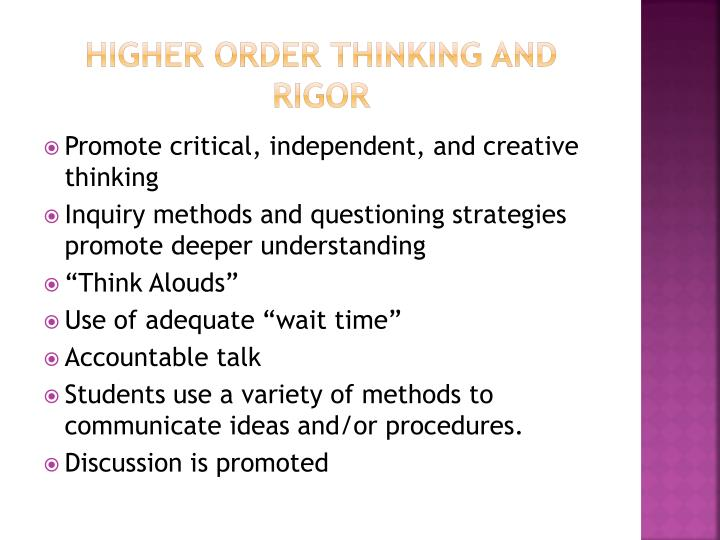 Higher Order Thinking and Rigor
