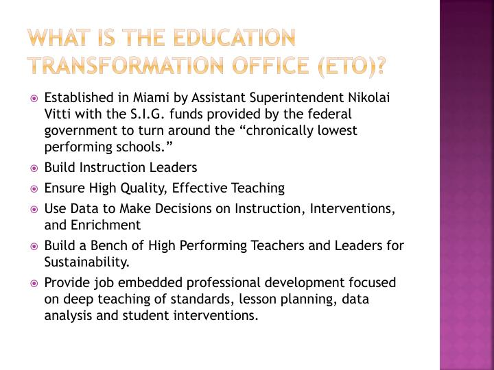 What is the Education Transformation Office (ETO)?